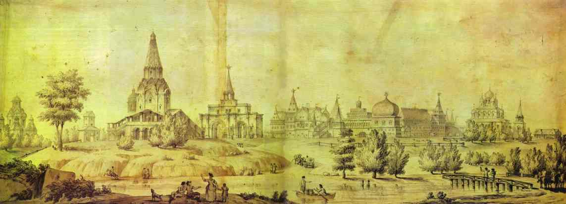 Oil painting:View of Kolomenskoe. 1795
