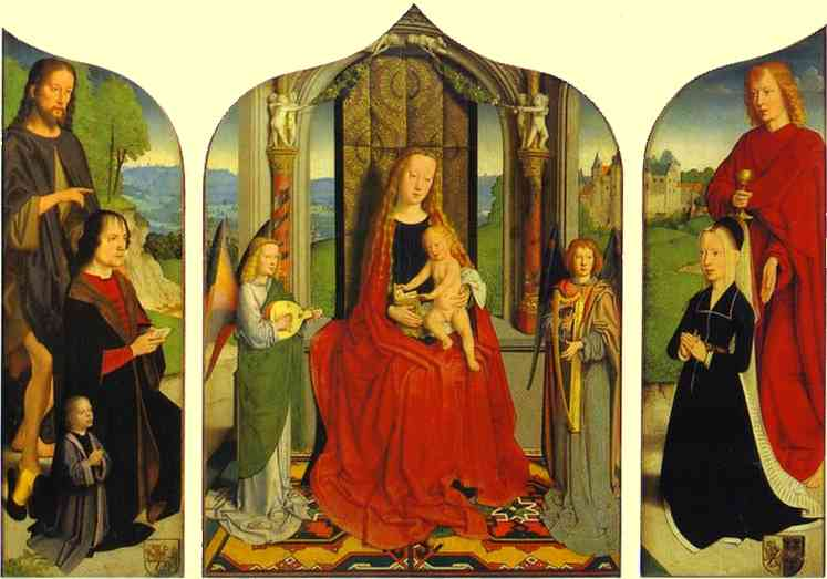 Oil painting:The Virgin and Child between Angel Musicians, with the Donor, His Wife and Family,