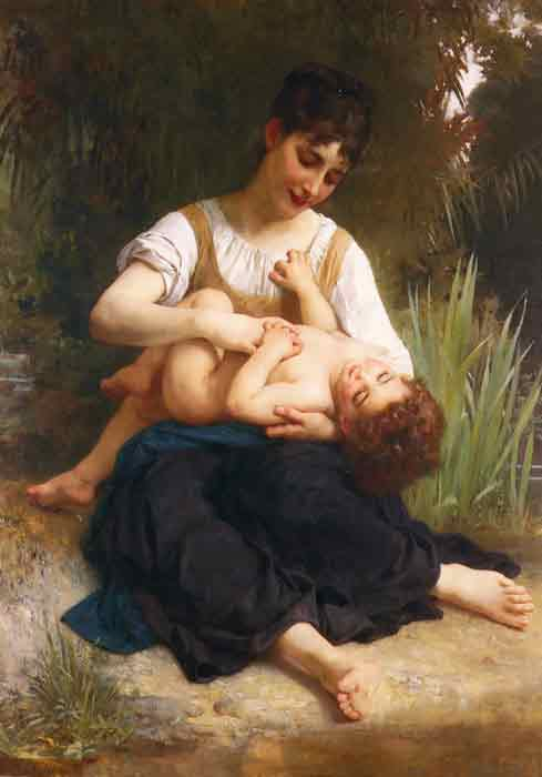 Oil painting for sale:The Joys of Motherhood (Girl Tickling a Child), 1878
