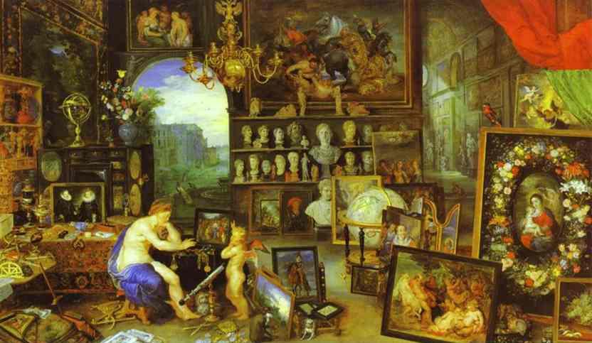Oil painting:Jan Brueghel the Elder and Peter Paul Rubens. Allegory of Sight. c. 1618