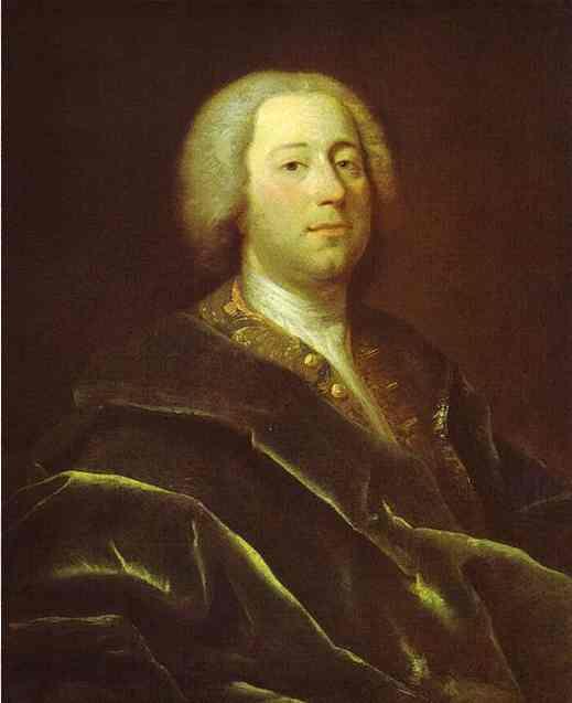 Oil painting:Portrait of the Physician Ioann Azaretti. 1728-1729