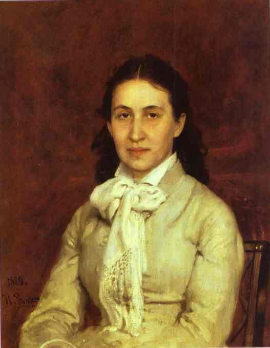 Oil painting:Portrait of E. Mamontova. 1874