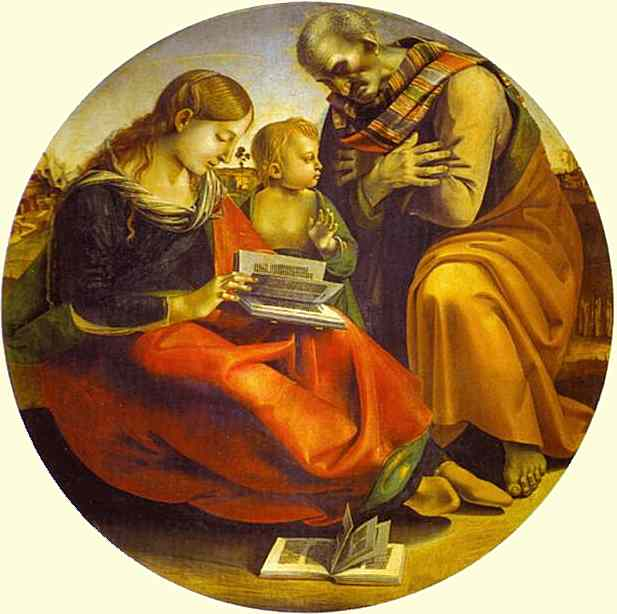 Oil painting:The Holy Family. c. 1490