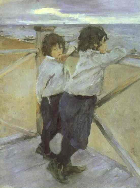 Oil painting:The Children. Sasha and Yura Serov. 1899