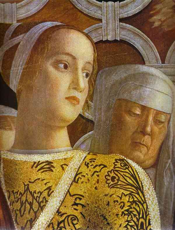 Oil painting:The Gonzaga Family and Retinue. Detail. 1465