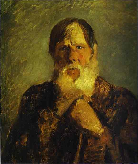 Oil painting:An Old Peasant. 1880