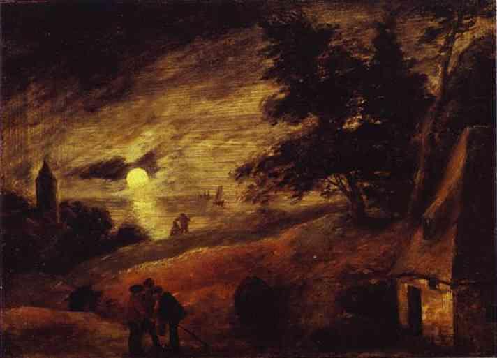 Oil painting:Dune Landscape by Moonlight. c. 1635