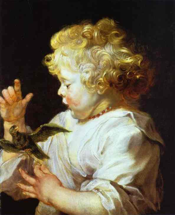 Oil painting:Infant with a Bird. c.1624