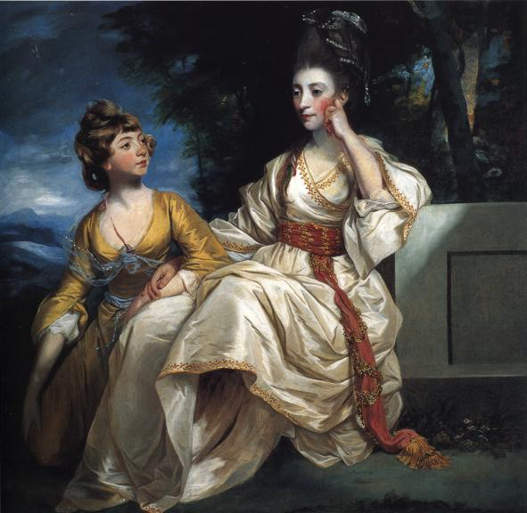 Oil painting:Mrs Henry Thrale with Her Daughter. 1777