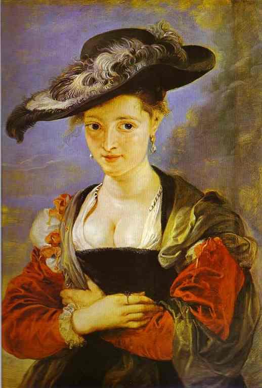 Oil painting:Portrait of Susanne Fourment (Le Chapeau de paille). c.1625