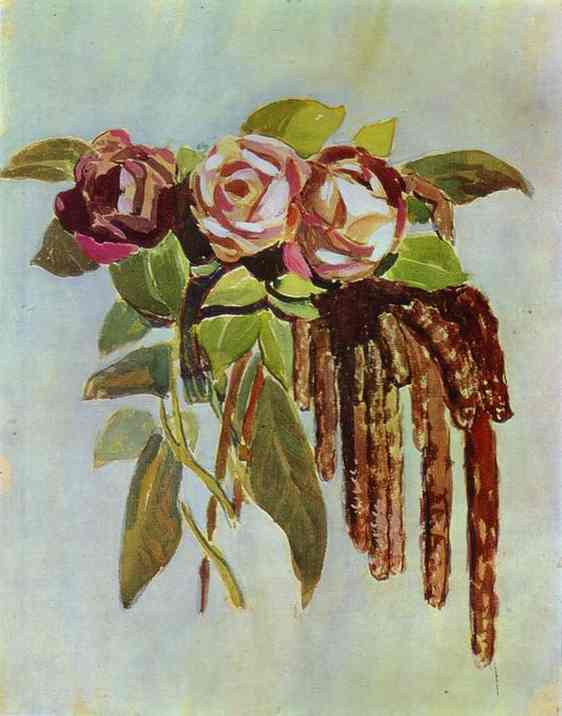 Oil painting:Roses and Catkins. 1901