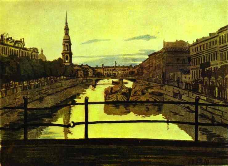 Oil painting:St. Petersburg. Krukov Chanel. 1910