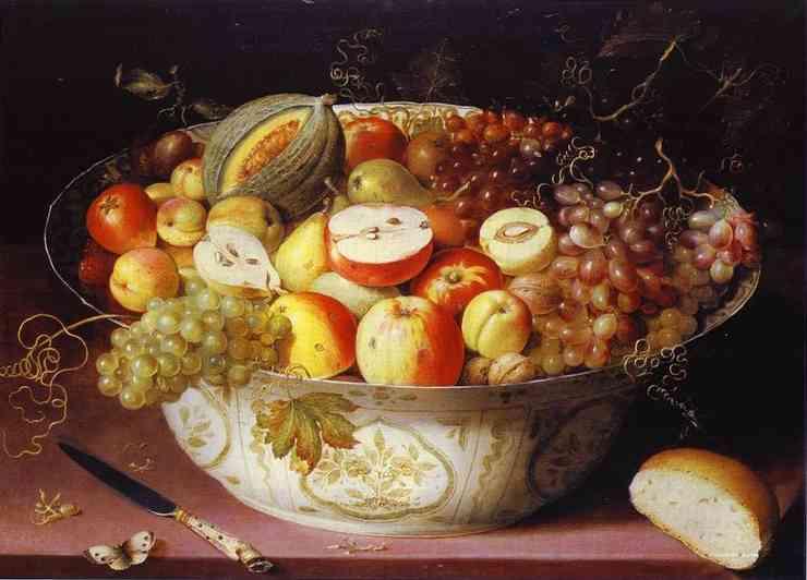 Oil painting:Still Life of fruit in a Wan-li Bowl. c. 1604