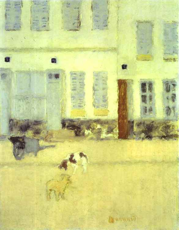 Oil painting:Street in Eragny-sur-Oise or Dogs in Eragny. 1893