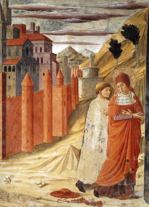 Oil painting:The Departure of St. Jerome from Antioch. 1452