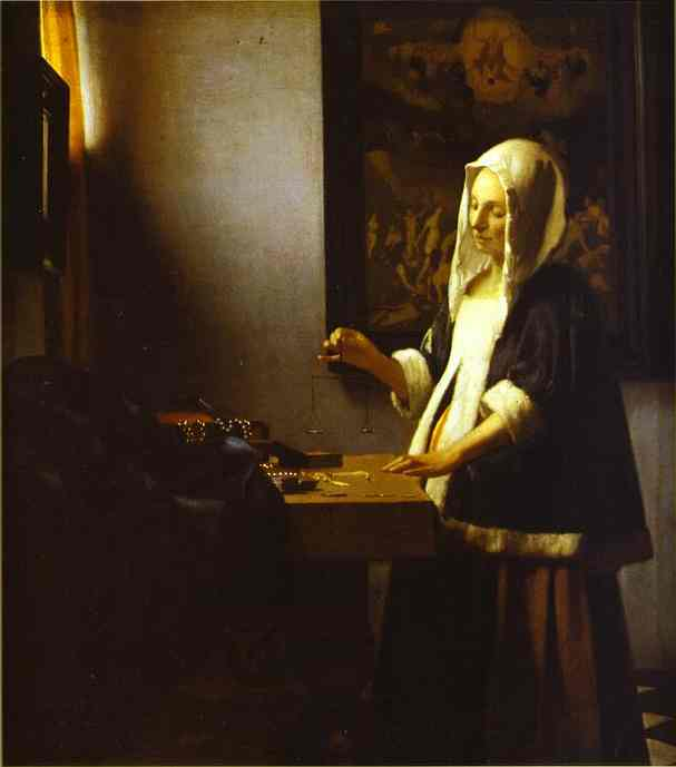 Oil painting:Woman Weighing Pearls. c.1662