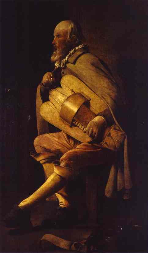 Oil painting:Hurdy-Gurdy Player. Oil on canvas.