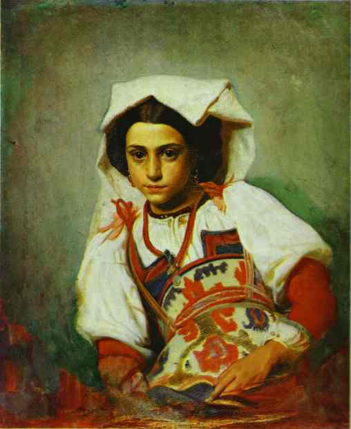 Oil painting:Portrait of an Italian Girl. 1863