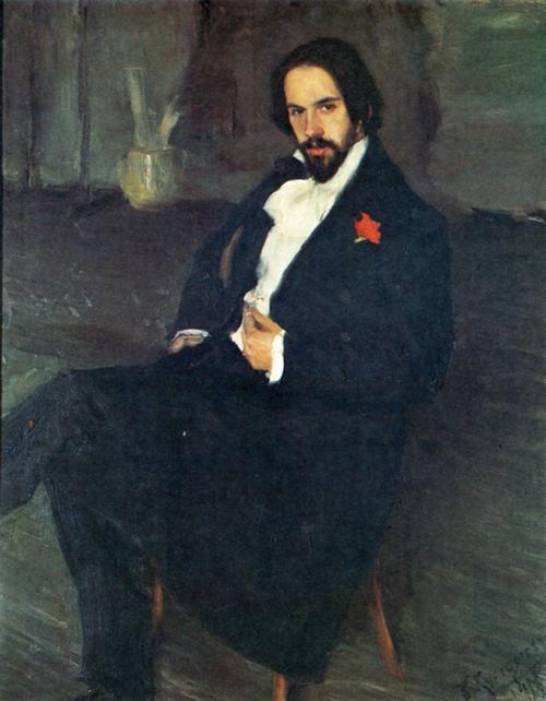 Oil painting: Portrait of the Painter Ivan Bilibin. 1901