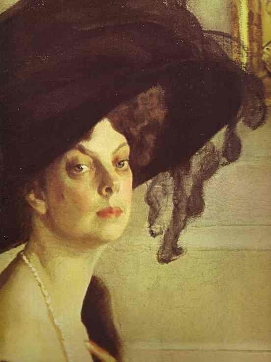 Oil painting:Portrait of Princess Olga Orlova. Detail. 1911