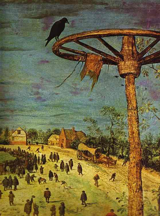 Oil painting:The Procession to Calvary. Detail. 1564