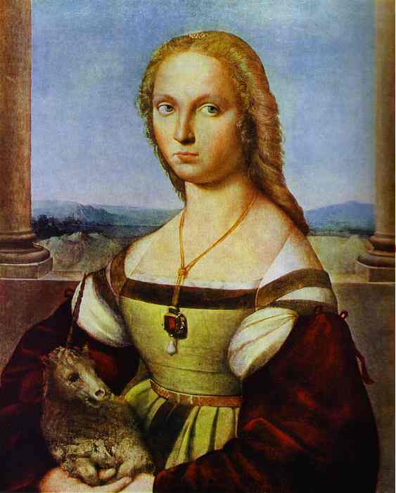 Oil painting:Portrait of a Lady with a Unicorn. 1505
