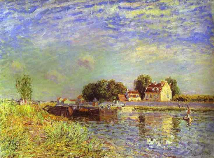 Oil painting:The Canal du Loing at St. Mammes. 1885