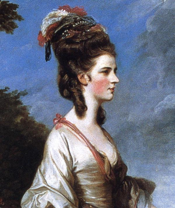 Oil painting:Jane, Countess of Harrington. Detail. 1775