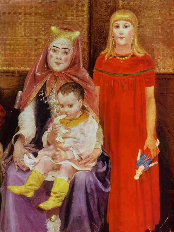 Oil painting:A Merchant Family in the XVII century. Detail. 1896