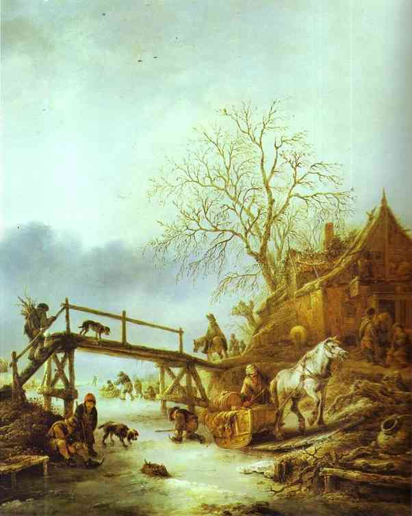 Oil painting:A Winter Scene. c. 1645