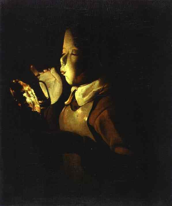 Oil painting:Boy Blowing at Lamp. c. 1640