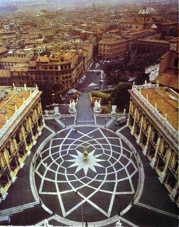 Oil painting: Capitoline Hill. Piazza Campidoglio, Rome, Ital