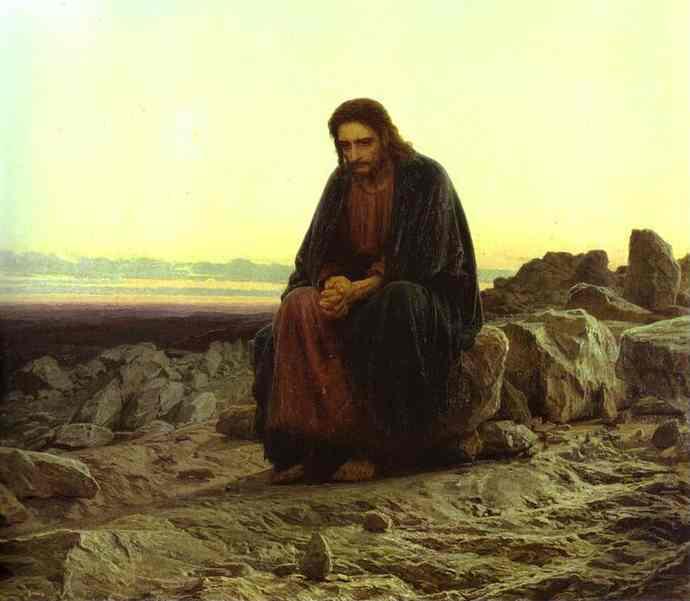 Oil painting:Christ in the Desert. 1872