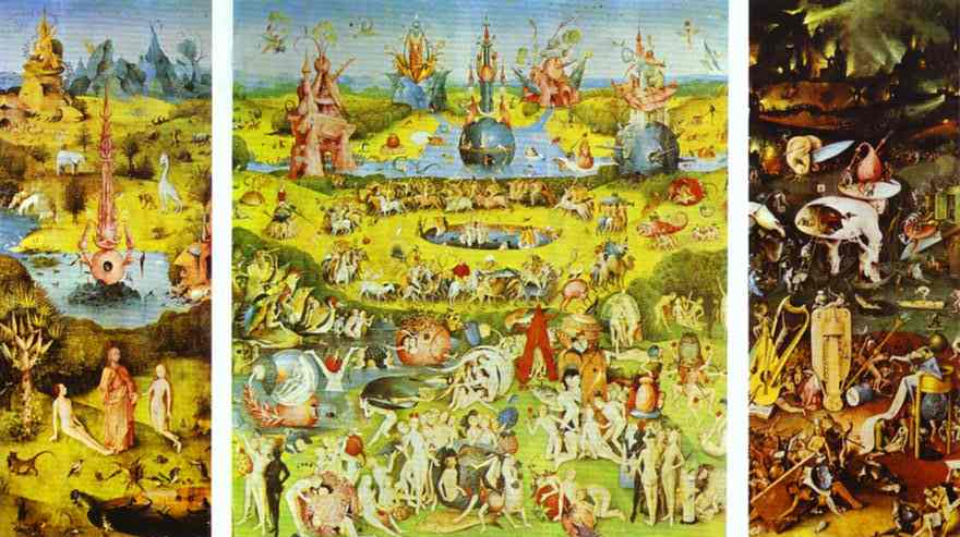 Oil painting:Garden of Earthly Delights (Triptych). c.1510