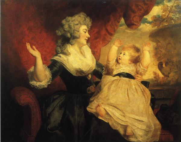 Oil painting:Georgiana, Duchess of Devonshire, and Her Daughter. 1784