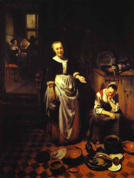 Oil painting:Interior with a Sleeping Maid and Her Mistress (The Idle Servant). 1655