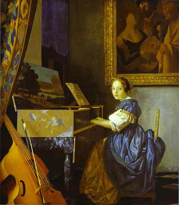 Oil painting:Lady Seated at a Virginal. c.1673