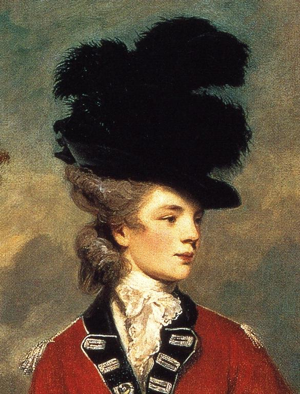 Oil painting:Lady Worsley. Detail. 1776