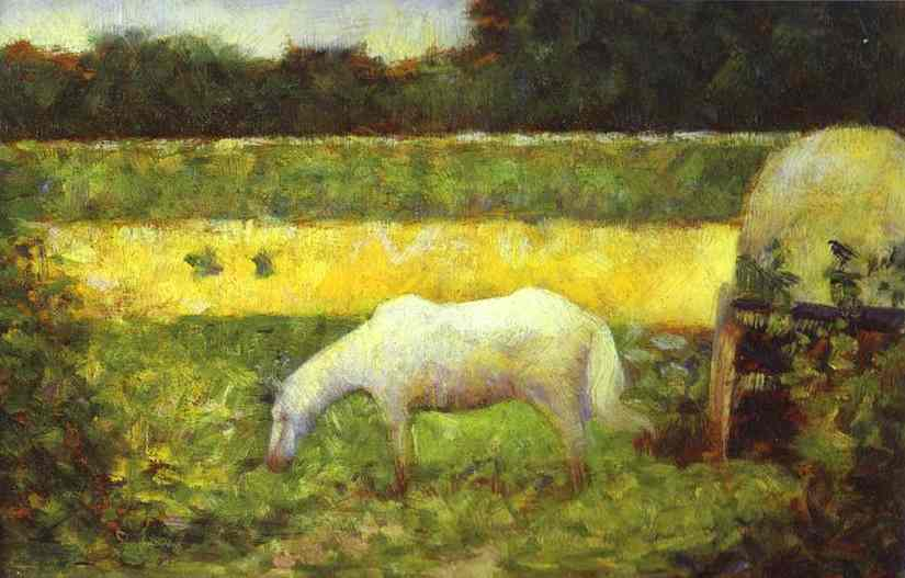 Oil painting:Landscape with a Horse. c. 1882