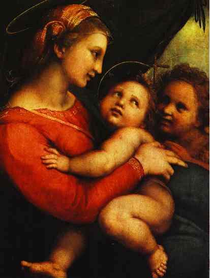 Oil painting:Madonna della Tenda. c. 1512