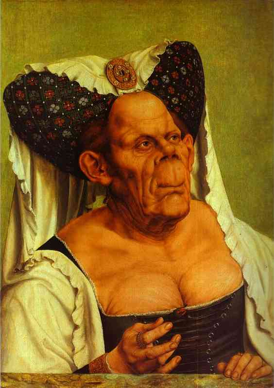 Oil painting:Old Woman. (The Queen of Tunis). c. 1513