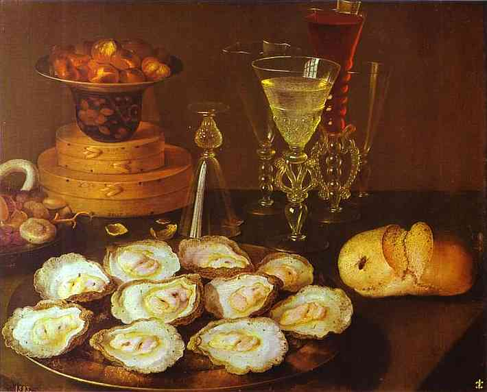 Oil painting:Oysters and Glasses. Oil on panel.