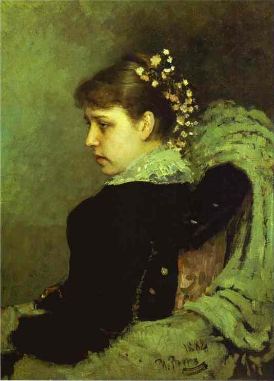 Oil painting:Portrait of T. A. Mamontova. 1882