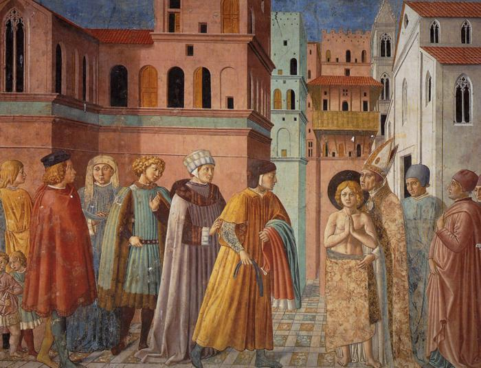 Oil painting:Renunciation of Worldly Goods and The Bishop of Assisi Dresses St. Francis. 1452