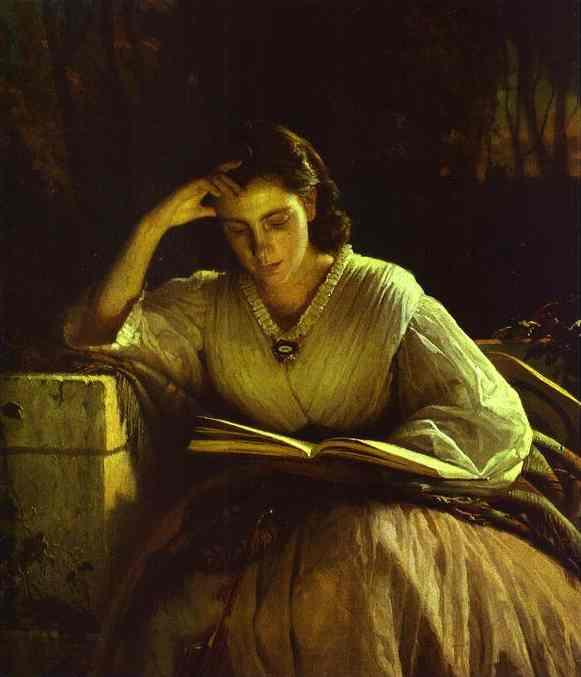 Oil painting:Sophia Kramskaya Reading. 1863