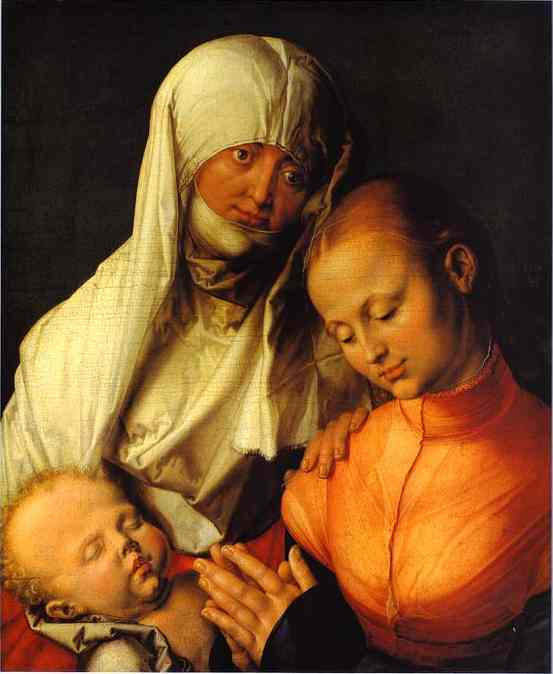 Oil painting:St. Anne with the Virgin and Child. 1519