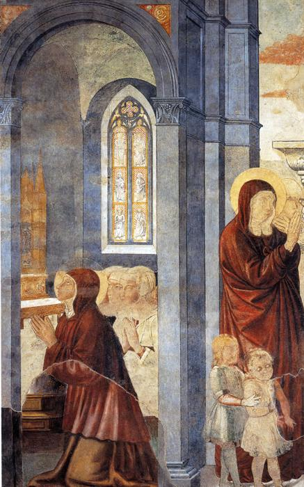 Oil painting:St. Augustine Leaving His Mother. 1464