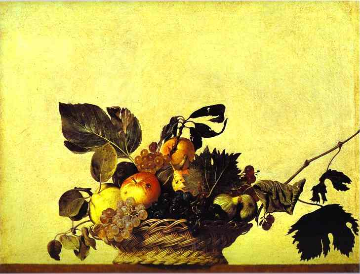 Oil painting:Still Life with a Basket of Fruit. c.1601