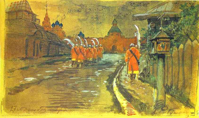 Oil painting:Strelets Patrol at the Ilyinsky Gates in Old Moscow. 1897