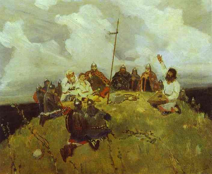 Oil painting:The Bard Bayan. Sketch. 1880
